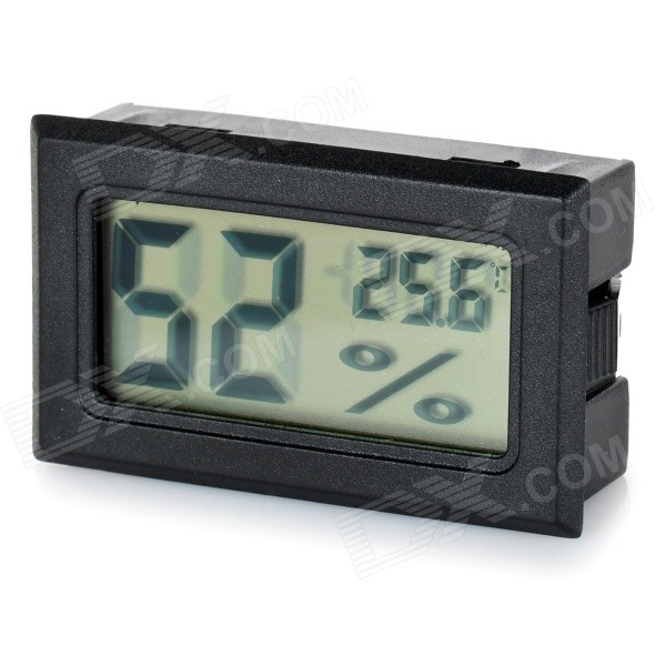1.5 LCD Temperature Humidity Meter Thermometers Hygrometer - BlackVoltmeter or Thermometers or Hygrometers<br>Form  ColorBlackModelN/AQuantity1 DX.PCM.Model.AttributeModel.UnitMaterialABSFunctionTemperature display,humidity displayScreen Size1.5 DX.PCM.Model.AttributeModel.UnitDisplay ColorBlackTemperature Range-50~70 DX.PCM.Model.AttributeModel.UnitHumidity Range10~99%Power SupplyBuilt-in 2 x LR44 batteriesCable Length0 DX.PCM.Model.AttributeModel.UnitPacking List1 x Hygrometer &amp; thermometer<br>