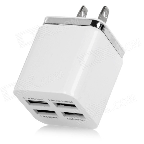 USB 5V / 5.1A Smart Quick Charger - White (US Plug / 100~240V)