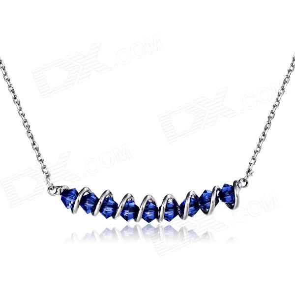 Xinguang Crystal + Alloy Swing Violet Pendant Necklace - Silver