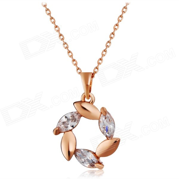 Women's Leaves Style Crystal Inlaid Alloy Pendant Necklace - Rose Gold