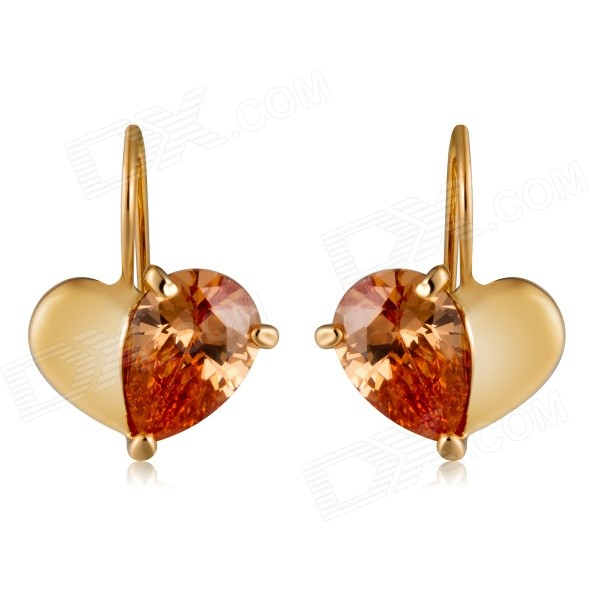 Buy Xinguang Double Heart-Shaped Zircon Inlaid Earrings - Golden (Pair) with Litecoins with Free Shipping on Gipsybee.com