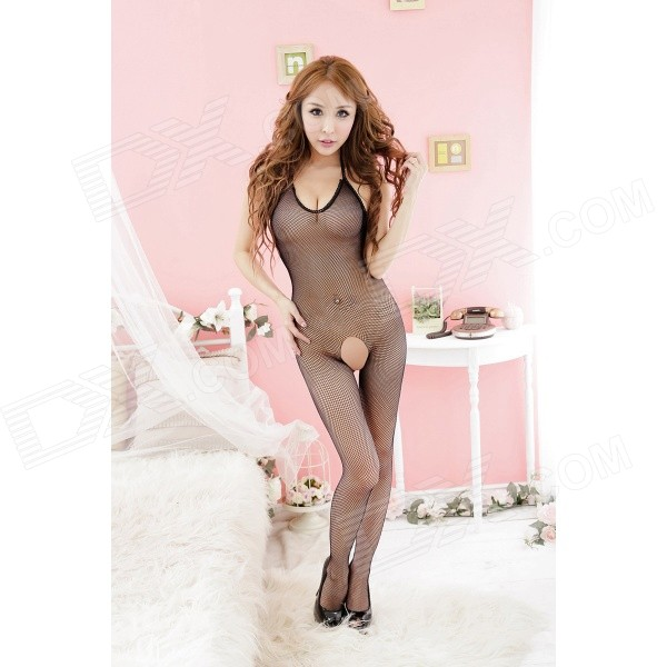Sexy Halter Net Body Stocking Bodysuit Nightwear Lingerie - Black