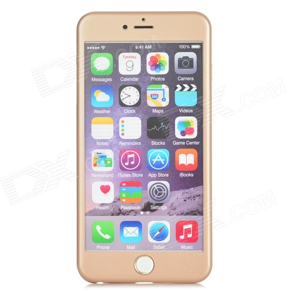 Front + Back Case w/ Tempered Glass Film for IPHONE 6 PLUS - Golden