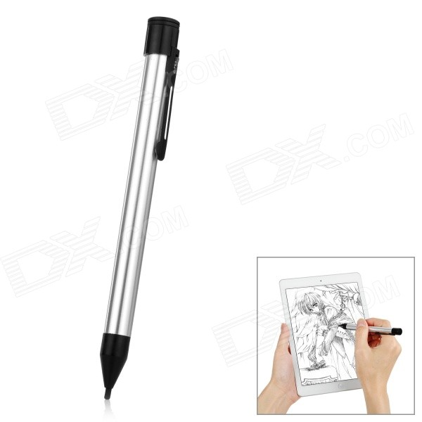 USB Rechargeable Capacitive Stylus Pen w/ Ball Pen for IPAD - SilverStyluses<br>Form  ColorSilverQuantity1 DX.PCM.Model.AttributeModel.UnitMaterialPlastic + aluminum alloyShade Of ColorSilverStylus FeaturesBall Pen,Others,With USB charging portCompatible ModelsIPHONE 6,IPHONE 5S,IPHONE 5C,IPHONE 5,IPHONE 4,IPHONE 4S,IPHONE 3GS,IPHONE 3G,IPAD AIR,IPAD MINI 2(IPAD MINI WITH RETINA DISPLAY),IPAD MINI (1ST GENERATION),IPAD 4,IPAD 2,IPAD 1,IPOD TOUCH 5,IPOD TOUCH 4,IPOD TOUCH 3,IPOD TOUCH 2,IPOD TOUCH 1,IPOD NANO 7,IPOD NANO 6,IPOD NANO 5,IPOD SHUFFLE 4,IPOD SHUFFLE 3,IPOD SHUFFLE 2,IPOD SHUFFLE 1,IPOD CLASSIC,OthersStylus Length15.5 DX.PCM.Model.AttributeModel.UnitOther Features2mm tip; With smart energy-saving function: auto sleep if not use for 2mins, auto off if not use for 15mins; Abrasion resistant, sensitive and smooth; Convenient to usePacking List1 x Stylus pen1 x USB cable (30cm)8 x Replacement conductive rubber tips1 x Chinese / English user manual<br>