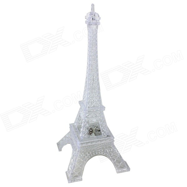 Romantic Colorful Luminescence Eiffel Tower Style Night Light (3*LR44)LED Nightlights<br>MaterialPlasticsForm  ColorTransparentQuantity1 DX.PCM.Model.AttributeModel.UnitPowerOthers,N/ARated VoltageOthers,N/A DX.PCM.Model.AttributeModel.UnitConnector TypeOthers,N/AColor BINMulti-colorEmitter TypeLEDTotal Emitters3DimmableNoInstallation TypeOthers,N/AOther FeaturesBatteries are includedPacking List1 x Light<br>