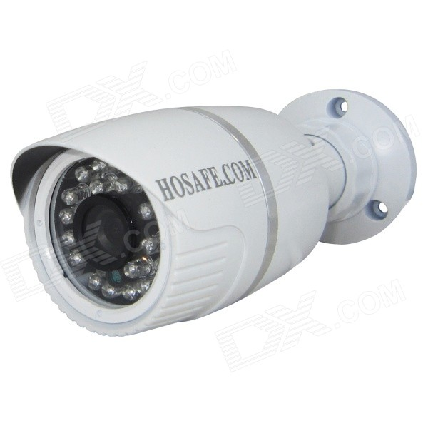 HOSAFE 13MB1W ONVIF HD 1.3MP Outdoor IP Camera - White (EU Plug)IP Cameras<br>Form  ColorWhite + SilverPower AdapterEU PlugModelHOSAFE-13MB1WMaterialIronQuantity1 DX.PCM.Model.AttributeModel.UnitImage SensorCMOSImage Sensor SizeOthers,1/3 InchPixels1.3MPLens3.6mmViewing Angle90 DX.PCM.Model.AttributeModel.UnitVideo Compressed FormatH.264Picture Resolution1280x960PFrame Rate25fpsMinimum Illumination0 DX.PCM.Model.AttributeModel.UnitNight VisionYesIR-LED Quantity24Night Vision Distance20 DX.PCM.Model.AttributeModel.UnitWireless / WiFiNoNetwork ProtocolTCP,IP,HTTP,SMTP,FTP,DHCP,DDNS,uPnP,PPPoE,TFTPSupported SystemsXP,Vista,7Supported BrowserIE 6.0 and above,Google Chrome,Firefox,OperaSIM Card SlotNoOnline Visitor5IP ModeDynamic,Static,PPPoEMobile Phone PlatformAndroid,iOSFree DDNSYesIR-CUTYesBuilt-in Memory / RAMNoLocal MemoryNoMotorNoSupported LanguagesEnglish,Simplified Chinese,Traditional Chinese,Brazilian,Russian,Portuguese,Spanish,Italian,Korean,French,Czech,German,Finnish,Swedish,GreekWater-proofIP66Power AdaptorYesRate Voltage12VRated Current1 DX.PCM.Model.AttributeModel.UnitPacking List1 x IP camera (40cm-cable)1 x CD1 x Screws Kit1 x 12V1A power adapter (AC: 100-240V, EU plug, 120cm-cable)<br>
