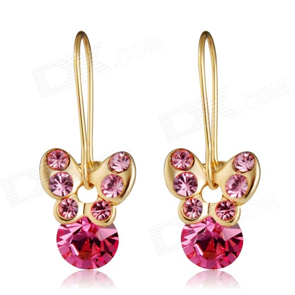 Buy Shiny Crystal Butterfly Style Pendant Earrings - Golden + Red (2PCS) with Litecoins with Free Shipping on Gipsybee.com