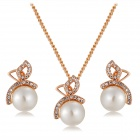 Dragonfly Artificial Pearl + Crystal Pendant Necklace - Rose Gold