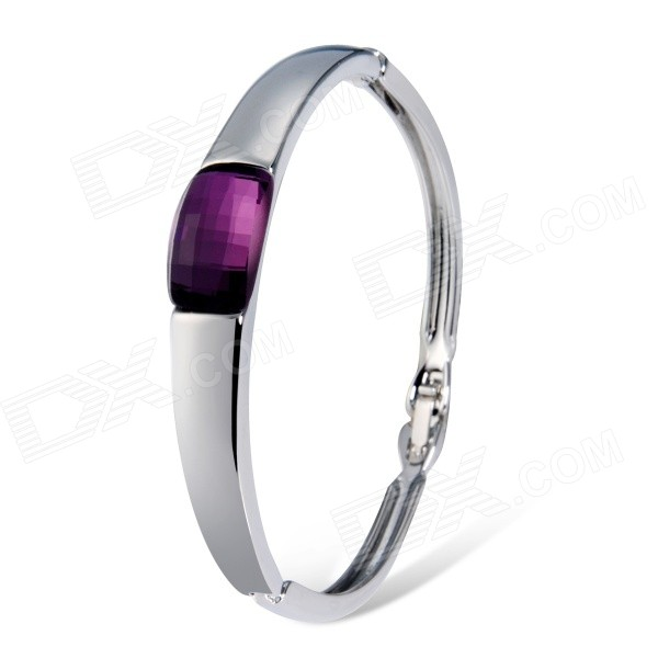 Women's Rectangle Crystal Decorated Alloy Bracelet - Silver + Purple