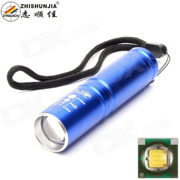 ZHISHUNJIA 525-XPE 1-LED 400lm 3-Mode Cold White Zooming Flashlight14500 Flashlights<br>Form  ColorBlueModel525-XPEQuantity1 DX.PCM.Model.AttributeModel.UnitMaterialAluminum alloyEmitter BrandOthers,N/ALED TypeXP-EEmitter BINQ5Color BINCold WhiteNumber of Emitters1Working Voltage   1.5~3.7 DX.PCM.Model.AttributeModel.UnitPower Supply1 x AA / 1 x 14500 (not included)Current1.5 DX.PCM.Model.AttributeModel.UnitTheoretical Lumens500 DX.PCM.Model.AttributeModel.UnitActual Lumens400 DX.PCM.Model.AttributeModel.UnitRuntime4 DX.PCM.Model.AttributeModel.UnitNumber of Modes3Mode ArrangementHi,Low,Fast StrobeMode MemoryYesSwitch TypeForward clickySwitch LocationTailcapLensPlasticReflectorNoBeam Range150 DX.PCM.Model.AttributeModel.UnitStrap/ClipStrap includedPacking List1 x Flashlight<br>