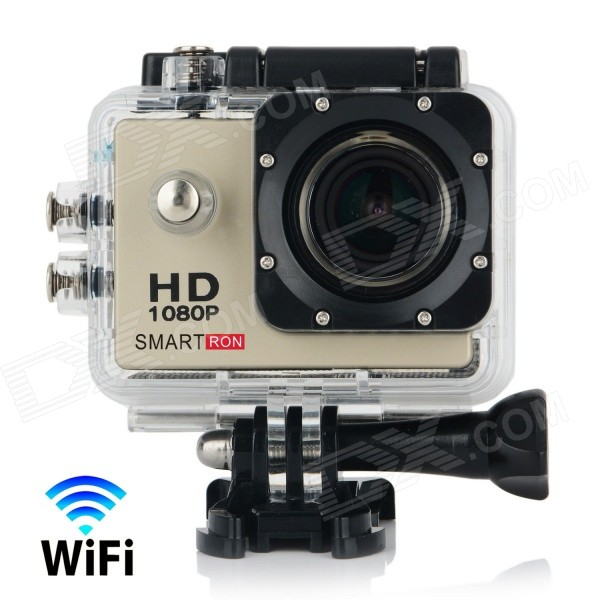"Smartron Wi-Fi 2.0"" TFT 1080P Waterproof Action Sports Camera - Golden"