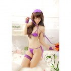 Super Sexy Bikini Suit w/ Eyeshade / Tying Band - Purple (Free Size)