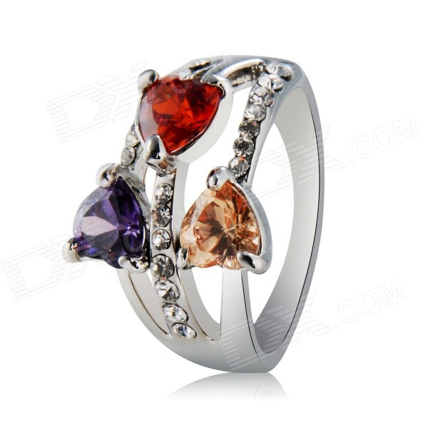 Xinguang Three Heart Love Shaped Alloy Ring - Silver (US Size 8)