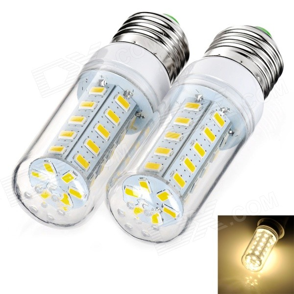 exLED E27 7W 900lm 36-SMD 5730 Warm White Bulb (220~240V / 2PCS)E27<br>Form  ColorWhite + Yellow + Multi-ColoredColor BINWarm WhiteMaterialPlastic + aluminumQuantity2 DX.PCM.Model.AttributeModel.UnitPower7WRated VoltageAC 220-240 DX.PCM.Model.AttributeModel.UnitConnector TypeE27Chip TypeLEDEmitter TypeOthers,5730 SMD LEDTotal Emitters36Theoretical Lumens1200 DX.PCM.Model.AttributeModel.UnitActual Lumens900 DX.PCM.Model.AttributeModel.UnitColor Temperature3000KDimmableNoPacking List2 x LED bulbs<br>