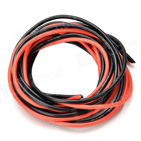 DIY 16AWG Silicone Wires for R/C Airplane - Black + Red (2PCS / 2m)
