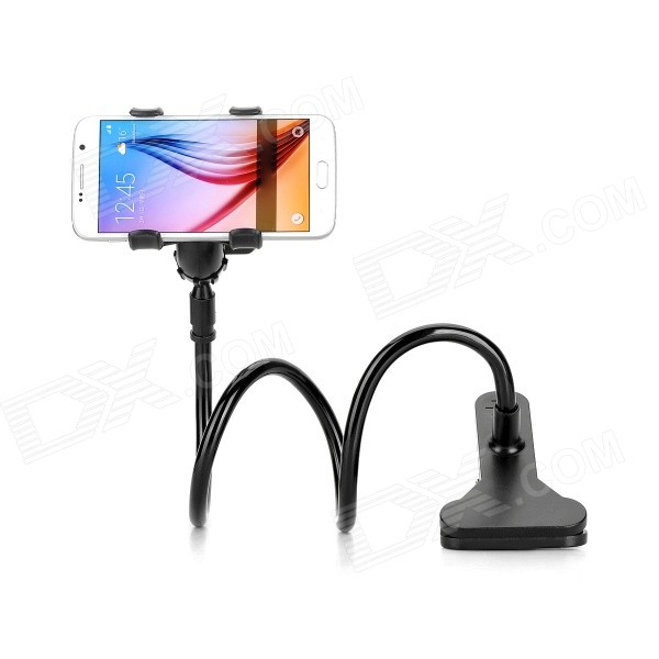 Desktop Clip-on Flexible Cellphone Holder for 3.5~6.5 Phones - BlackMounts &amp; Holders<br>Form  ColorBlackModelN/AMaterialABS + aluminium alloyQuantity1 DX.PCM.Model.AttributeModel.UnitMount TypeOthers,Universal clipOther FeaturesFlexible tube length: 58cm; Clip max. open: cellphone clip 12cm, desktop clip 7cm; 360 degrees freely rotationPacking List1 x Holder<br>