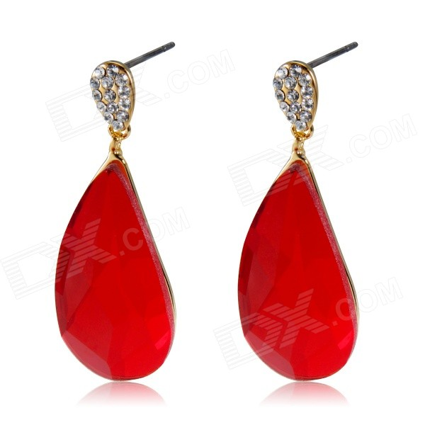Red Water Crystal Gold Earrings - GoldEarrings<br>Form  ColorGoldenModel11142325146501Quantity1 DX.PCM.Model.AttributeModel.UnitShade Of ColorGoldMaterialAlloy crystalGenderWomenSuitable forAdultsLength3.7 DX.PCM.Model.AttributeModel.UnitWidth1.4 DX.PCM.Model.AttributeModel.UnitPacking List2 x Earrings<br>