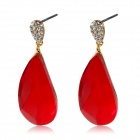 Red Water Crystal Gold Earrings - Gold