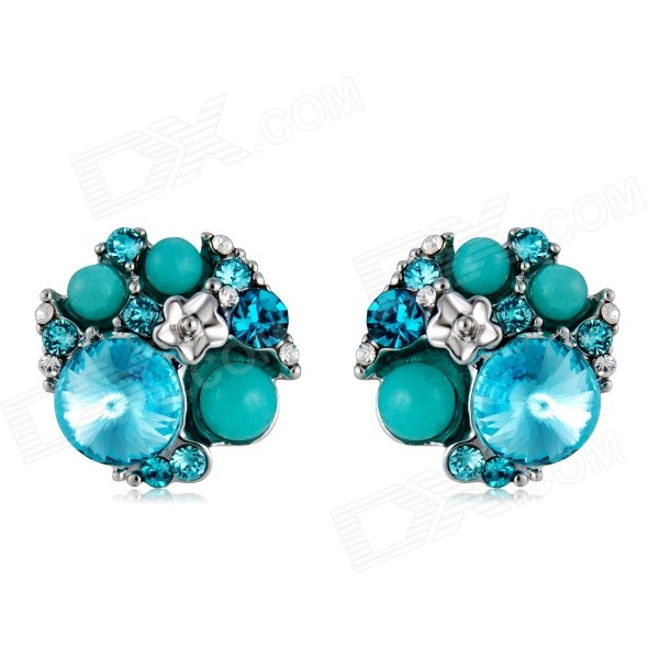 Imitation Turquoise & Crystal Alloy Ear Studs Earrings - Blue (Pair)