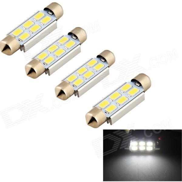 YouOKLight Festoon 42mm 3W White LED Car Reading Lamp - Silver (4PCS)
