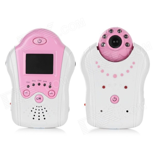 """1.5"""" LCD 2.4GHz Wireless Digital Baby Monitor - White + Pink (US Plugs)"""