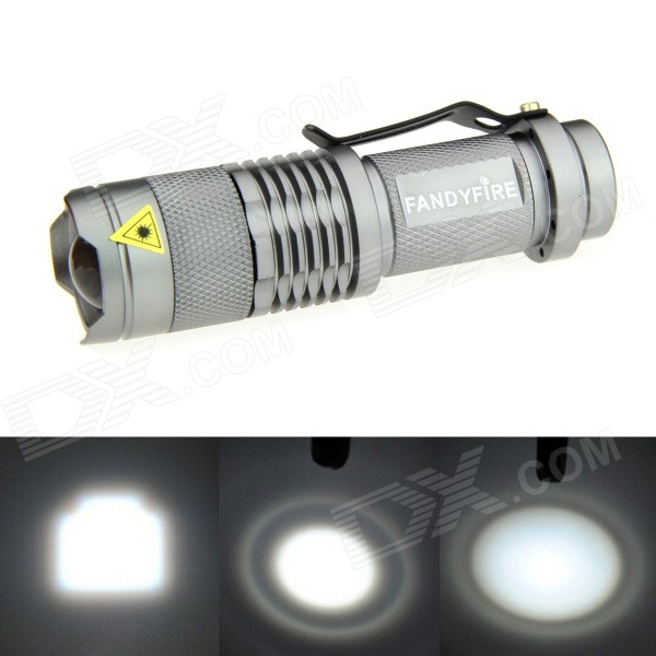 FANDYFIRE 400lm Zoomable White Flashlight - Silvery Grey (1*AA/14500)14500 Flashlights<br>Form  ColorSilverQuantity1 DX.PCM.Model.AttributeModel.UnitMaterialAluminum alloyEmitter BrandOthers,N/ALED TypeXP-EEmitter BINQ5Color BINCold WhiteNumber of Emitters1Working Voltage   1.2-3.7 DX.PCM.Model.AttributeModel.UnitPower Supply14500 / AA batteryCurrent1.8 DX.PCM.Model.AttributeModel.UnitTheoretical Lumens500 DX.PCM.Model.AttributeModel.UnitActual Lumens400-500 DX.PCM.Model.AttributeModel.UnitRuntimeN/A DX.PCM.Model.AttributeModel.UnitNumber of Modes1Mode ArrangementOthers,Steady OnMode MemoryNoSwitch TypeReverse clickySwitch LocationTailcapLensPlasticReflectorNoBeam Range180-200 DX.PCM.Model.AttributeModel.UnitStrap/ClipClip includedPacking List1 x Flashlight<br>