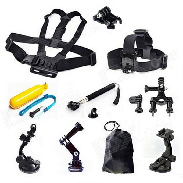11-in-1 Headband, Chest Strap, Monopod Kit for GoPro, SJ4000, XiaoYi