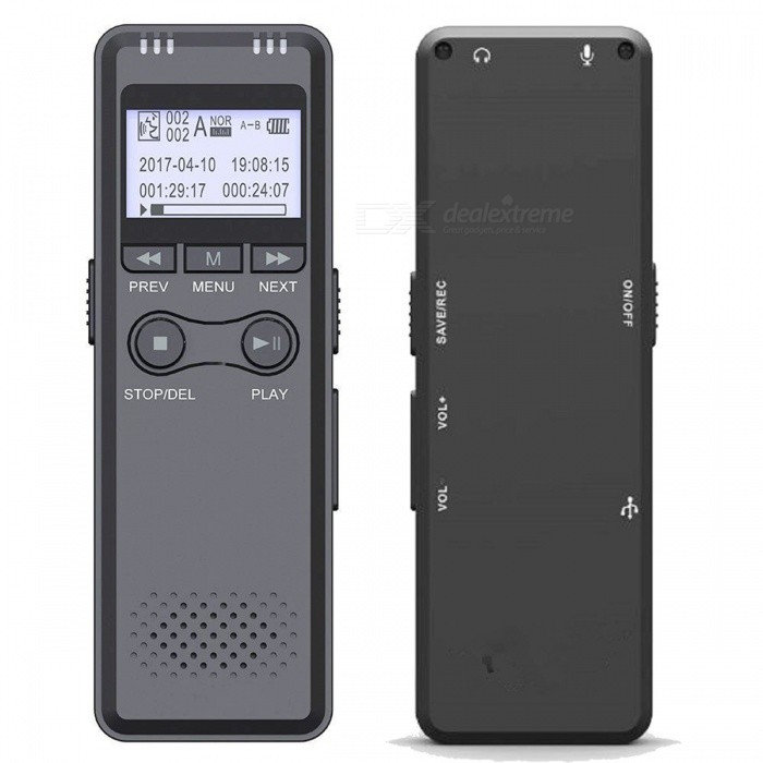 1.2 LCD Voice Recorder MP3 Player for Telephone - Grey + Black (8GB)Digital Voice Recorders<br>Form ColorGrey + Black + Multi-ColoredBuilt-in Memory / RAM8GBMaterialAluminum alloyQuantity1 DX.PCM.Model.AttributeModel.UnitShade Of ColorGraySupports Card TypeOthers,Built-in 8GB memoryRecord Audio FormatMP3 / WMAAudio FormatsMP3,WMABuilt-in SpeakerYesRecording Time280 HourBattery TypeLi-ion batteryBuilt-in Battery Capacity 1600 DX.PCM.Model.AttributeModel.UnitPower AdapterOthersHeadphones IncludedYesWith ClipNoOther Features1.2 display screenPacking List1 x Voice recorder 1 x USB cable (70cm)1 x 3.5mm audio cable (48cm)1 x Telephone cable (30cm)1 x Telephone adapter box 1 x Microphone (100cm)1 x Headset (100cm)1 x English user manual<br>