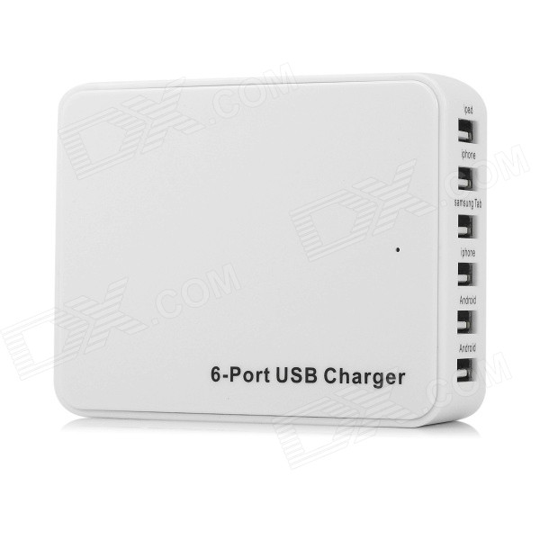 US Plugs USB2.0 6-Port Power Charger for Mobile Phones / Tablet - White