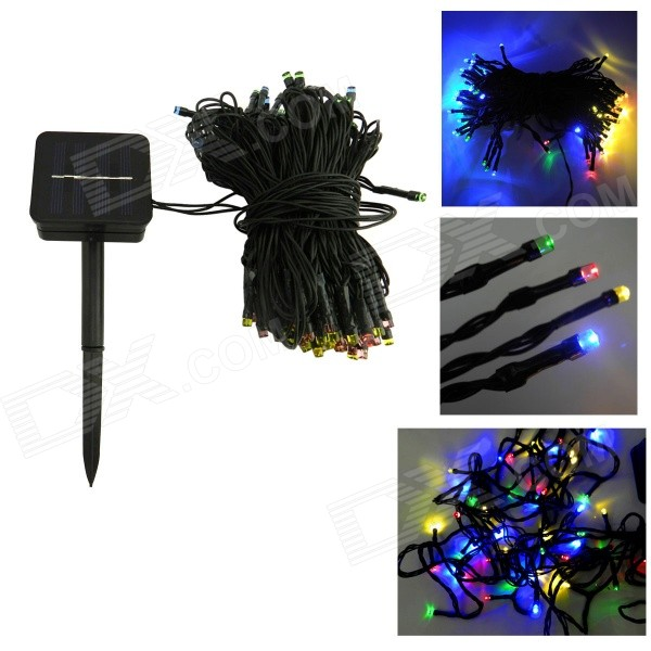 IN-Color 2W Solar Powered 100-LED Colorful Light String Light - BlackSolar Lamps<br>Form  ColorBlack + Translucent + Multi-ColoredMaterialPlasticQuantity1 DX.PCM.Model.AttributeModel.UnitEmitter TypeLEDPower2 DX.PCM.Model.AttributeModel.UnitWorking Voltage   2 DX.PCM.Model.AttributeModel.UnitWorking Current170 DX.PCM.Model.AttributeModel.UnitBattery Capacity600 DX.PCM.Model.AttributeModel.UnitLumens20 DX.PCM.Model.AttributeModel.UnitBattery Charging Time8Working Time8~15h; Flash mode: 10~20 DX.PCM.Model.AttributeModel.UnitPacking List1 x LED solar string light (12m-cable)1 x Stand (removable)1 x English manual<br>