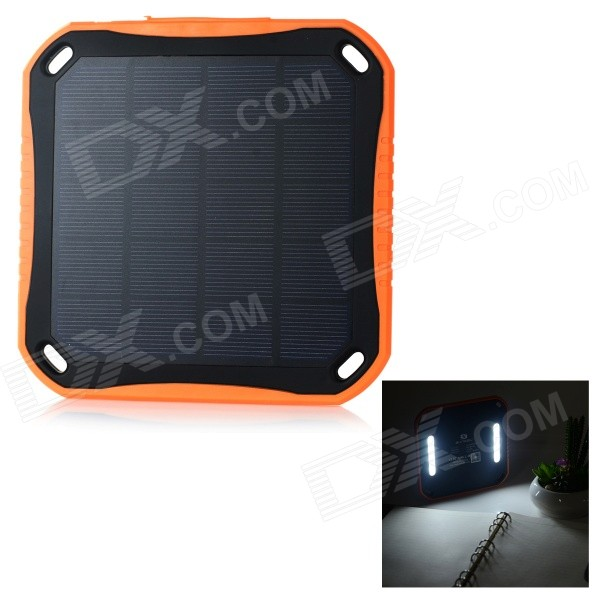 2.5W 3600mAh Solar Powered Charger Power Bank - Black + Orange