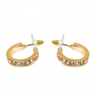 Women's Creative C Shaped Crystal Alloy Earrings - Golden (Pair)