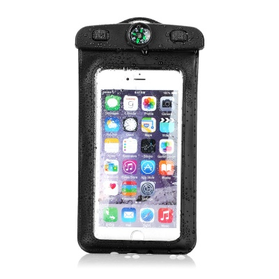 """Waterproof Armband Bag w/ Compass / Strap for 4.5""""~5.5"""" Phone - Black"""