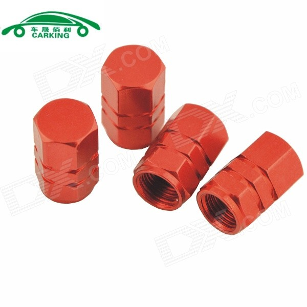 Automobile Hexagonal Valve Core Cap - Red (4PCS)