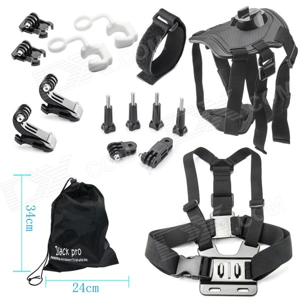 16-In-1 Accessories Kit for GoPro Hero 4 / Hero HD 3+ 3 2 1 - BlackMounting Accessories<br>Form  ColorBlackModelBP21BQuantity1 DX.PCM.Model.AttributeModel.UnitMaterialPlasticShade Of ColorBlackCompatible ModelsGoPro Hero 1,GoPro Hero 2,GoPro Hero 3,GoPro Hero 3+,GoPro Hero 4RetractableNoMax.Load1 DX.PCM.Model.AttributeModel.UnitPacking List1 x Dog strap1 x Chest strap1 x Remote wrist strap2 x Locks2 x Bases2 x J-mount4 x Screws1 x Long connector 1 x Short connector 1 x Large pouch<br>