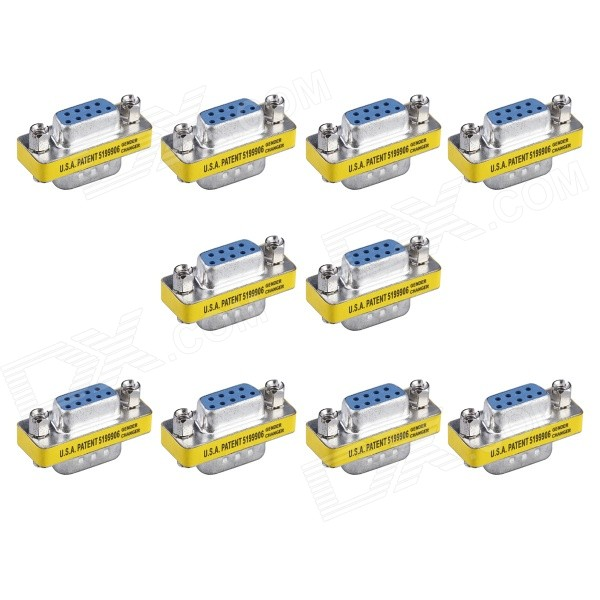 9-Pin VGA Male to VGA Female Adapter - Silver + Yellow (10PCS)Computer Cable&amp;Adapter<br>Form  ColorSilver + YellowQuantity1 DX.PCM.Model.AttributeModel.UnitShade Of ColorSilverMaterialAluminum AlloyInterfaceOthers,VGA male to VGA femalePacking List10 x VGA male to VGA female adapters<br>
