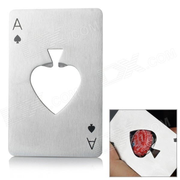 Creative Game Card Heart A Style Beer Bottle Opener - Silver