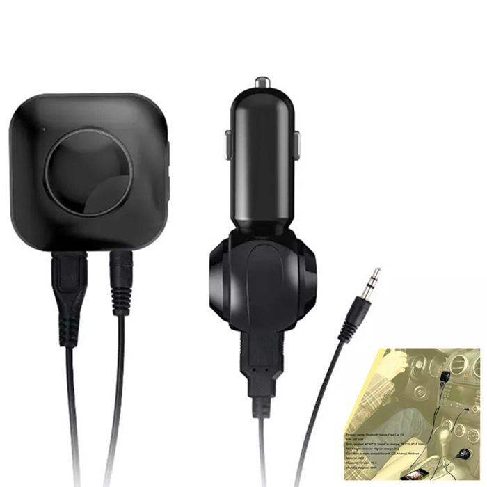 Bluetooth V3.0 Receiver Car Charger for iOS / Android - Black