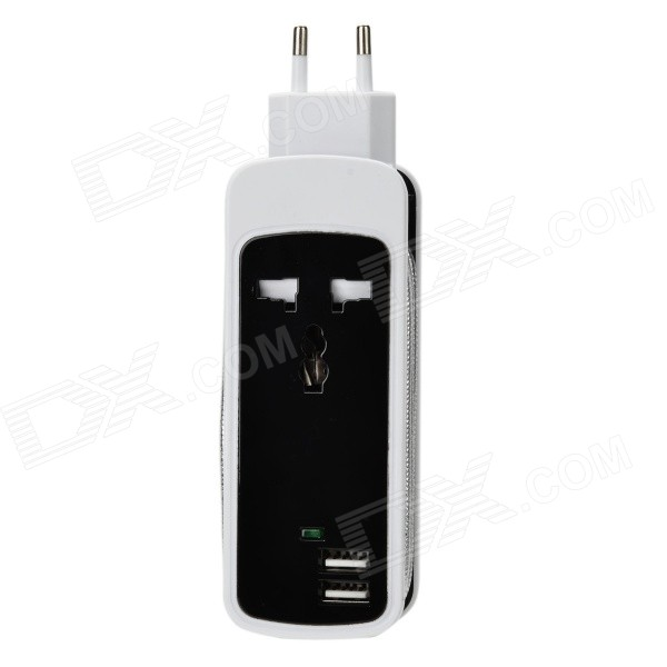 3-in-1 Universal Dual-USB + AC Triple-Pin Socket Strip w/ EU Plug - Black + WhiteAC Chargers<br>Form  ColorBlack + WhiteQuantity1 DX.PCM.Model.AttributeModel.UnitMaterialPVC + copperShade Of ColorBlackCompatible ModelsIPHONE 5S,IPHONE 5C,IPHONE 5,IPHONE 4,IPHONE 4S,IPHONE 3GS,IPHONE 3G,IPAD AIR,IPAD MINI 2(IPAD MINI WITH RETINA DISPLAY),IPAD MINI (1ST GENERATION),IPAD 4,THE NEW IPAD(IPAD 3),IPAD 2,IPAD 1,IPOD TOUCH 5,IPOD TOUCH 4,IPOD TOUCH 3,IPOD TOUCH 2,IPOD TOUCH 1,IPOD NANO 7,IPOD NANO 6,IPOD NANO 5,IPOD SHUFFLE 4,IPOD SHUFFLE 3,IPOD SHUFFLE 2,IPOD SHUFFLE 1,IPOD CLASSIC,Others,Cell phone / tablet / laptopPower AdapterEU PlugCable Length135 DX.PCM.Model.AttributeModel.UnitInput110-240V 50/60HzOutput interface, output current, output voltage5V 3.5ACertificationCCCOther FeaturesDual-USB output, 1 x 3-Pin outlet AC socketPacking List1 x Hub charger (135cm-cable)<br>