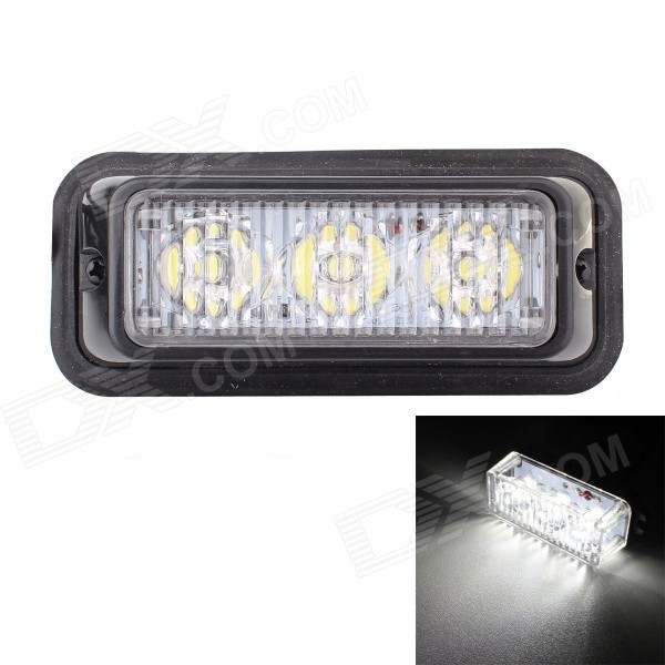 Buy MZ 9W White 3-LED Car Flashing Warning Signal Lamp - Black (12~24V) with Litecoins with Free Shipping on Gipsybee.com