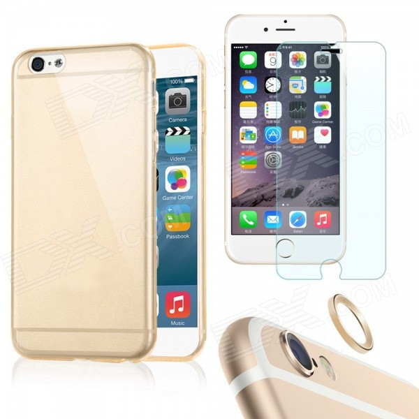 Case + Tempered Glass Film + Lens Guard Ring for IPHONE 6Plus