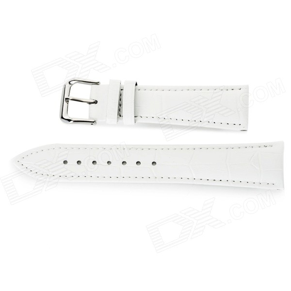 Alligator Skin Pattern Split Leather Band for APPLE WATCH 38mm - White