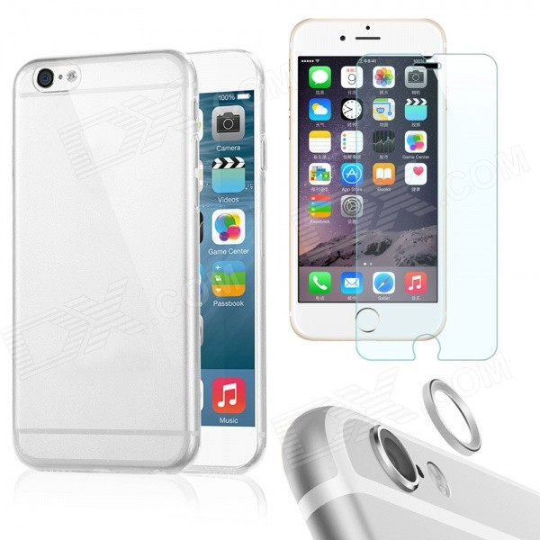 Case + Tempered Glass Film + Lens Ring for IPHONE 6Plus - TransparentTPU Cases<br>Form  ColorTransparentQuantity1 DX.PCM.Model.AttributeModel.UnitMaterialOthers,TPU + glass + aluminum alloyCompatible ModelsIPHONE 6 PLUSDesignSolid Color,TransparentStyleBack CasesPacking List1 x Back case1 x Tempered glass protector1 x Lens guard ring<br>