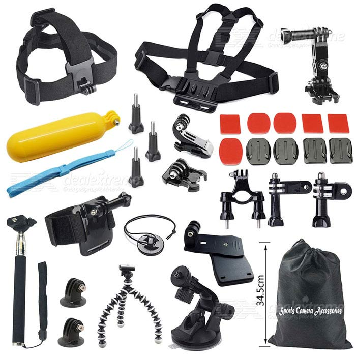 28-In-1-Sports-Mount-Accessories-Kit-for-GoPro-Hero-4-32b-3-2-1-Black