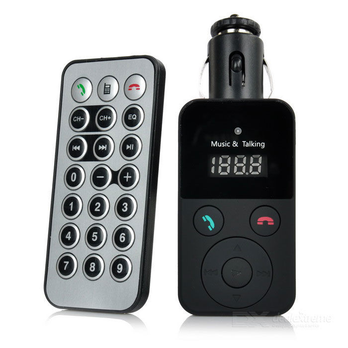 Bluetooth V3.0 Car FM Hands-Free Transmitter w/ MP3 Player - BlackBluetooth Car Kits<br>Form  ColorBlackModelN/AQuantity1 DX.PCM.Model.AttributeModel.UnitMaterialABSScreen Size0.8 DX.PCM.Model.AttributeModel.UnitFunctionHandsfree,MP3 Player,FM TransmitterCompatible CellphoneIPHONE,Motorola,Blackberry,Nokia,SonyEricsson,HTC,OthersPhonebook Capacity0Voice PromptNoBluetooth VersionBluetooth V3.0Transmit Frequency87.5~108 DX.PCM.Model.AttributeModel.UnitTransmit Distance10~15 DX.PCM.Model.AttributeModel.UnitMIC Effective Distance0~2 DX.PCM.Model.AttributeModel.UnitFrequency Response20Hz~15KHzSNR60dBTHD0.1%Battery CapacityN/A DX.PCM.Model.AttributeModel.UnitCharging Voltage5 DX.PCM.Model.AttributeModel.UnitTalk TimeN/A DX.PCM.Model.AttributeModel.UnitStandby TimeN/A DX.PCM.Model.AttributeModel.UnitCharging TimeN/A DX.PCM.Model.AttributeModel.UnitInterface/PortUSB 2.0,OthersPacking List1 x Car FM transmitter w/ MP3 player1 x Remote controller (built-in 1 x CR2025)<br>