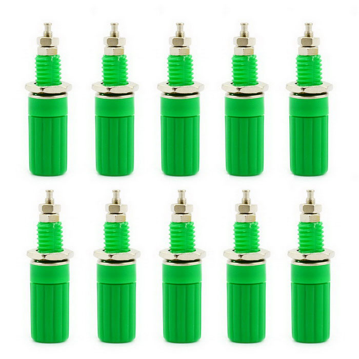 Jtron 4mm Binding Post Terminals for Speaker Banana Plug Connector - Green (10 PCS)