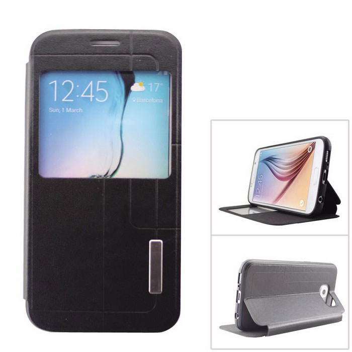 PU + TPU Case w/ Stand / Display Window for Samsung Galaxy S6 - Black
