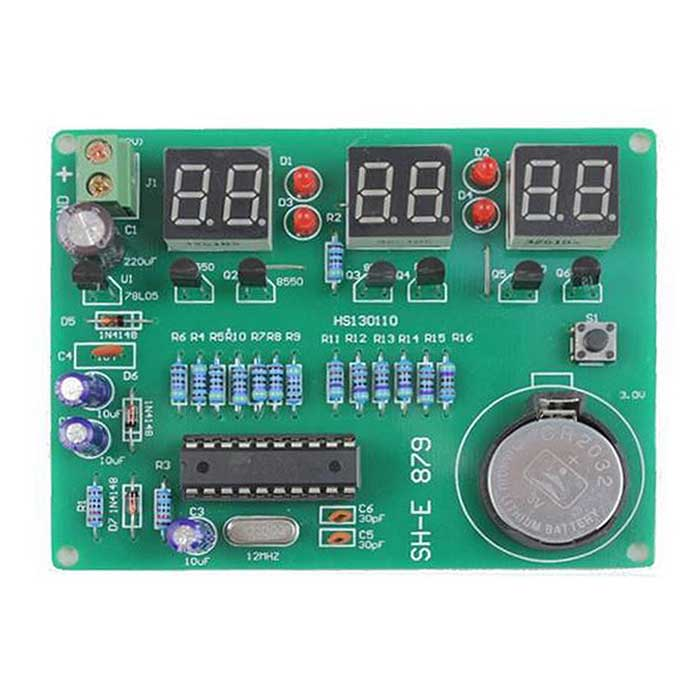 ZnDiy-BRY AT89C2051 DIY 6-Digital LED Electronic Clock Kit (DC 6~12V)