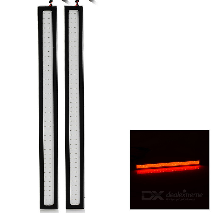 JRLED 6W COB 64-LED Car Running Light Bar Red Light 200lm 635nm (2PCS)Decorative Lights / Strip<br>Color BINRedModelN/AQuantity2 DX.PCM.Model.AttributeModel.UnitMaterialAluminum alloy + silicone + rubber wireForm ColorWhite + Black + Multi-ColoredEmitter TypeOthers,COBChip BrandOthers,N/ATotal EmittersOthers,64Wavelength635 DX.PCM.Model.AttributeModel.UnitRate VoltageDC 12VPower6WTheoretical Lumens200 DX.PCM.Model.AttributeModel.UnitActual Lumens100~200 DX.PCM.Model.AttributeModel.UnitWater-proofNoApplicationDecoration light,Brake light,Daytime running lightOther FeaturesWith dual-side adhesive tapes, convenient to use; Suitable for car light and home lighting; Size: 17 x 1.5cmPacking List2 x Lights (47cm cable)<br>