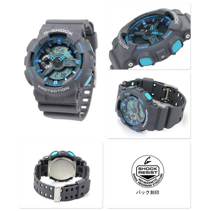 Casio G-Shock GA-110TS-8A2CR Neon Men s Watch-Grey + Blue - Free ... 65fab593a5